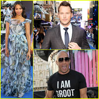 reportedly pregnant zoe saldana wears billowy dress to 'guardians of the galaxy' uk premiere