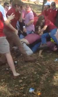 University of Arkansas Fraternities Fight at Tailgate Party (Video)