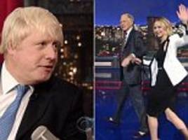 Jennifer Lawrence steals the show on Letterman as special guest London Mayor Boris is left with less than five minutes to plug his Churchill book