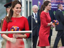 Pregnant Kate Middleton Dresses Up Baby Bump in Red Katherine Hooker Dress for Children's Hospice Event