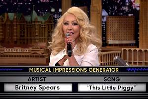 Video: Christina Aguilera Does Amazing Impression of Britney Spears on 'Tonight Show'