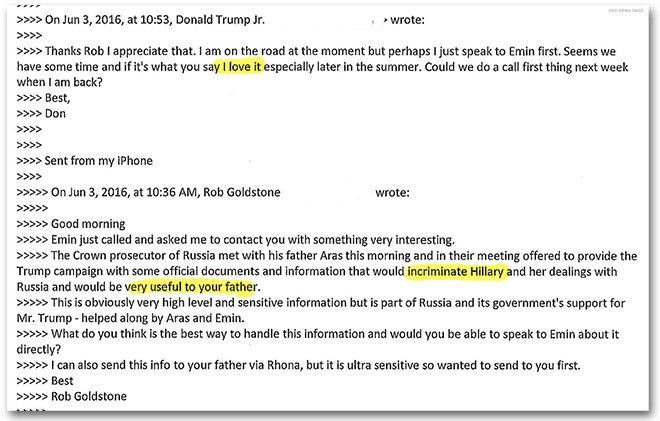 Trump Jr. email exchange with Rob Goldstone